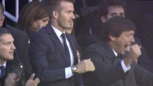 David Beckham lors de Valence-PSG, le 12 février 2013
