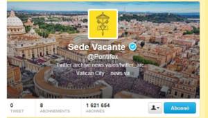 La page d'accueil du compte Twitter @pontifex, après la démission de Benoît XVI au lendemain de sa démission le 28 février 2013.