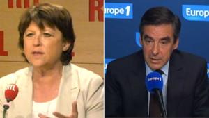 Martine Aubry (gauche) - François Fillon (droite) - Montage