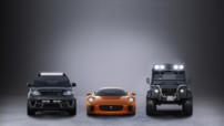 Le Range Rover Sport SVR, la Jaguar C-X75 et le Defender