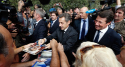 Nicolas Sarozy à Nice, le 27 septembre 2013, avant une conférence à Cannes.