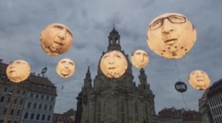 Les Yeux dans l'actu : Hollande, Obama ou Merkel transformés en ballons géants