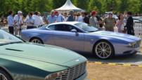 Les Aston Martin DBS Coupé et DB9 Spyder Zagato Centennial lors du centenaire d'Aston Martin, les 21 et 22 juillet 2013