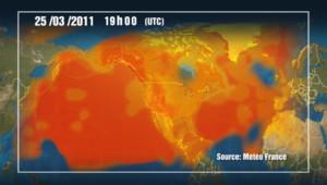 Modélisation du déplacement du nuage radioactif issu de la centrale de Fukushima (21/03/2011)