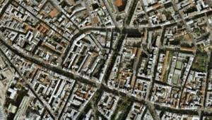 Vue aérienne de Paris, rue du Faubourg Saint-Antoine