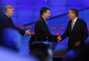 De gauche à droite : Donald Trump, Ted Cruz et John Kasich, candidats républicains à la Maison Blanche
