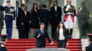 Nicolas Sarkozy et sa femme Carla quittent l'Elysée, le 15/5/12