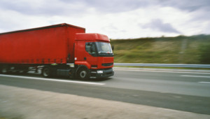 Truck driving on the road in France