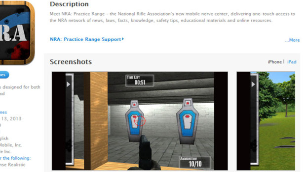 &quot;NRA: Practice Range&quot;, l&#039;appli du lobby amricain des armes, NRA, pour iPhone et iPad