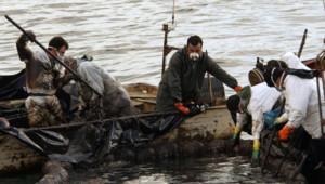 Vigo en Espagne, 11 décembre 2002. Des pêcheurs ramasse du pétrole s'écoulant du paquebot le Prestige