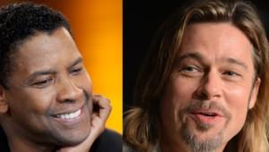Les acteurs américains Denzel Washington et Brad Pitt