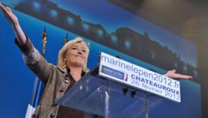 Marine Le Pen, en meeting à Châteauroux, le 26 février 2012.