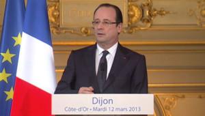 François Hollande lors de son déplacement de deux jours à Dijon le 12 mars 2013.