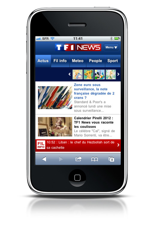 Le site Internet mobile de TF1News