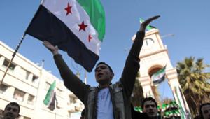 Syrie : manifestants opposés à Bachar al-Assad, Idleb, 22/2/12