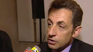 Nicolas Sarkozy s'exprimant sur les JO après le passage de la flamme à Paris (8 avril 2008)