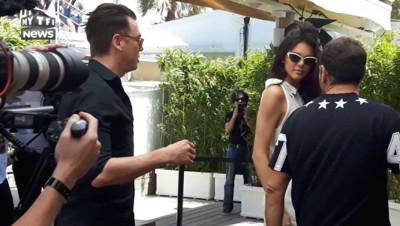 Kendall Jenner, lors de la présentation de la glace dont elle est l'égérie. Cannes, 12 mai 2016.