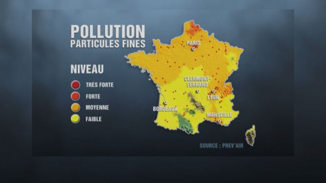 pollution aux particules fines la carte de france vid os mytf1news. Black Bedroom Furniture Sets. Home Design Ideas