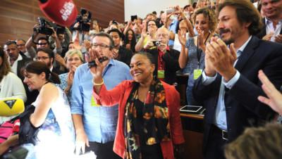 Christiane Taubira à la réunion des frondeurs du PS à la Rochelle le 30 août 2014