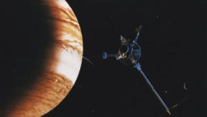 Vue d'artiste d'une sonde dans le voisinage de Jupiter