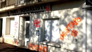 Le siège de la permanence du Parti socialiste de la Mayenne, à Laval, a été taguée dans la nuit de vendredi à samedi.