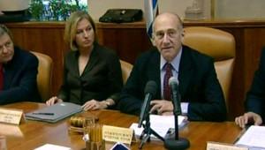 Ehud Olmert annonçant sa démission du poste de premier ministre israélien (21 septembre 2008)