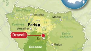 Carte de localisation de Draveil, dans l'Essonne