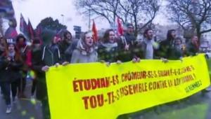Des étudiants se mobilisent à Rennes contre la loi Travail.