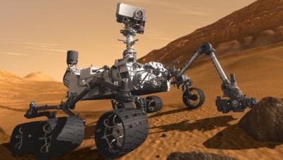 Vue d'artiste de Curiosity, le robot que la Nasa a envoyé explorer Mars