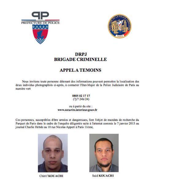 L'appel à témoins de la police concernant les frères Kouachi soupçonnés d'être les auteurs de l'attentat contre Charlie Hebdo