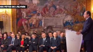 François Hollande à l'Elysée lors de ses voeux à la presse le 14 janvier 2014
