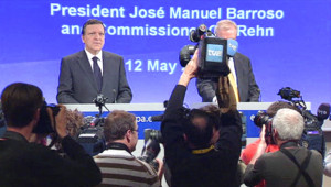 José Manuel Barroso face aux journalistes (12 mai 2010)