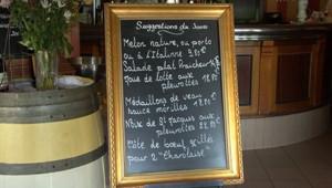 TVA carte menu restaurant restauration