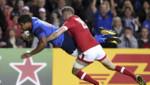 Wesley Fofana marque un essai pendant le match France-Canada le 1 octobre 2015