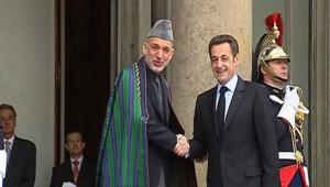 Hamid Karzaï et Nicolas Sarkozy