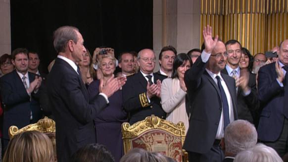 François Hollande ovationné à la mairie de Paris le 15 mai 2012