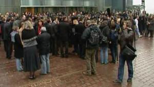 Les salariés de la SOciété Générale réunis le 30 janvier devant le siège de leur banque