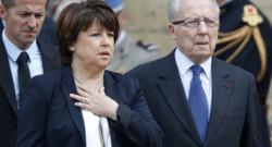 Martine Aubryet Jacques Delors lors des osbèques de Pierre Mauroy.
