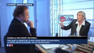 """""""Manuel Valls est pour plus d'immigration"""" selon Le Pen"""