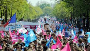 Manifestation des opposants au mariage pour tous à Paris le 21 avril 2013.