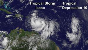 La tempête tropicale Isaac photographiée par satellite (août 2012)
