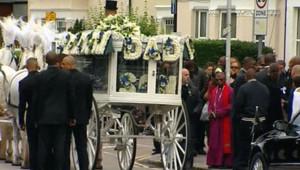 Les funérailles de Mark Duggan à Londres, le 9 septembre 2011 à Londres.