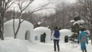 huttes au Japon pour célébrer le dieu de l'eau