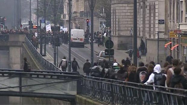 Des étudiants en Bretagne, le 12 décembre 2008