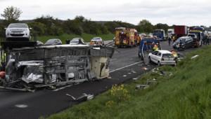 Accident A13 autoroute voitures poids-lourd