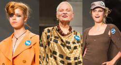 Vivienne Westwood et ses mannequins lors du défilé de la Fashion Week londonienne le 14 septembre 2014