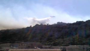 Un Canadair largue de l'eau sur un feu qui menace des habitations à Cavaillon (Vaucluse), le 21 juillet 2012.
