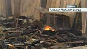 Syrie : dégâts dans les locaux de la chaîne Al-Ikhbariya après un attentat, 27/6/12