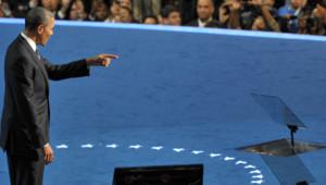 Barack Obama lors de son discours d'investiture comme candidat du parti démocrate, Charlotte, 6/9/12