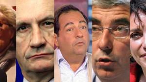 """La première sélection du prix """"Press Club, humour et politique"""" 2013 : Bernadette Chirac, Gérard Longuet, Jean-Luc Roméro, Gaëtan Gorce, Marisol Touraine (montage)"""
